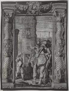 Marcus Antonius omhoog gehesen bij de graftombe van Cleopatra
