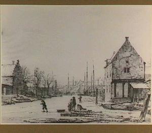 Wintergezicht op de Spuihaven in Dordrecht, gezien in de richting van de Sluisbrug en de Boomhaven