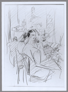 Revue meisjes in de schminkkamer van Theater Scala