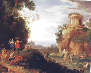 Arcadisch landschap met Tobias met de engel