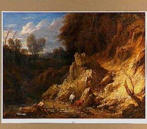 Rotsachtig landschap met badende mannen in een poel