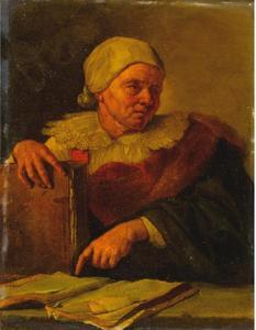 Oude vrouw met boeken