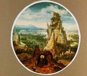 De boetvaardige H. Hiëronymus in een panoramisch landschap