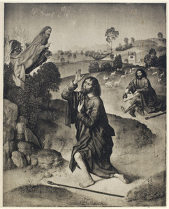 Moses, kneeling before the bush and hiding his face, listens to God (Exodus 3:4ff)