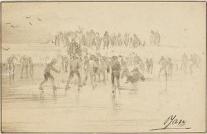 Groep mensen op het ijs