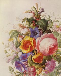 Festoen van bloemen hangend aan een nagel