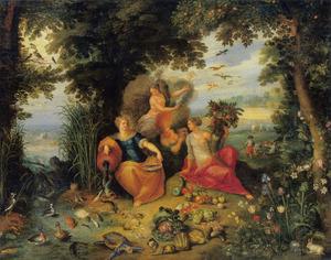Boslandschap met personificaties van de vier elementen