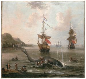 Walvisjacht in een baai
