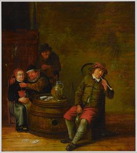 Rokend en drinkend gezelschap in een interieur