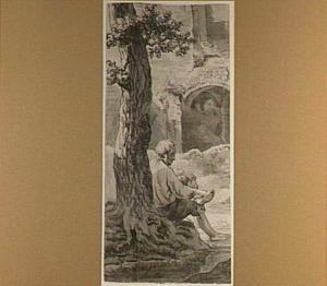 Tegen een boom zittende man, ten westen van de ruïne van de Abdij te Rijnsburg