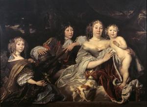Portret van Albertine Agnes van Oranje-Nassau (1634-1696) met haar drie kinderen