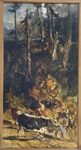 De afdaling van het rundvee in het Hoog Jura gebergte (schets)