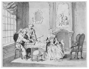 Portret van een echtpaar met dochter in interieur