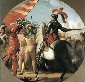 Koning Hans tijdens de slag van Rotebro bij Stockholm in 1497