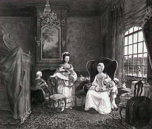 De visite; een jonge vrouw met twee kleine kinderen