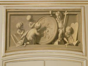 Allegorie op het Geloof: God de Vader weerhoudt Abraham om Isaak te offeren  (Genesis 22:11-12)