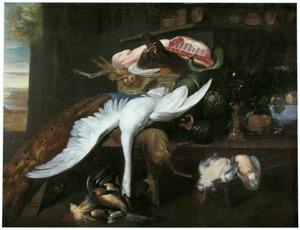 Stilleven met dode zwaan
