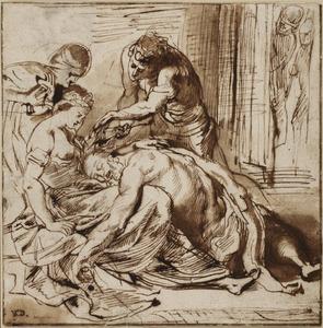 Simson slapend in Delila's schoot terwijl een Philistijn zijn haarlok afknipt (Richteren 16:19)