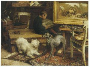 Modellen in het atelier van de kunstenaar