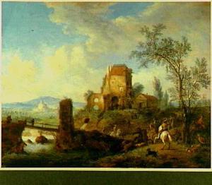 Rivierlandschap met brug bij een ruïne; op de voorgrond een hertenjacht