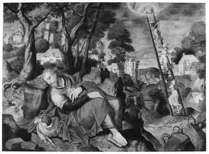 De droom van Jacob: engelen dalen af uit de hemel via een ladder (Genesis 28:12-13)