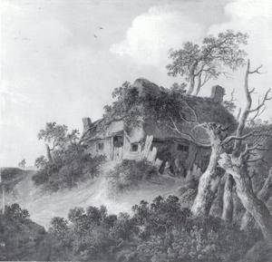 Landschap met een boerenhuis op een heuvel