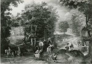 Boslandschap met een bospad bij een doorwaadbare plaats