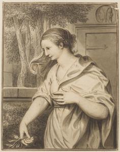 Allegorie op de Vrede: vrouw met olijftak en een gesloten deur waarboven een Januskop