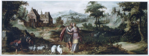 Landschap met de ontmoeting van Jacob en Rachel bij de bron  (Genesis 29:11)
