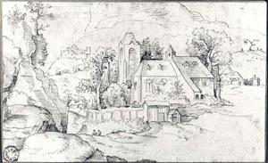 Kerk in een rotslandschap