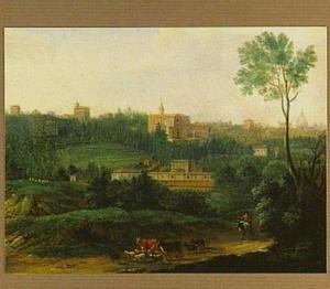 Italiaans landschap (bij Rome?) met gebouwen en ezelrijder met kudde