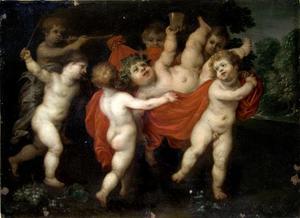 De opvoeding van Bacchus (Bacchus wordt gedragen)