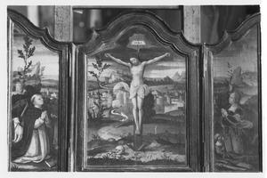 De H. Dominicus (links), de kruisiging (midden), de H. Catharina (rechts)