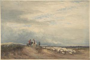 Ruiters met schapen in de buurt van de monding van een rivier