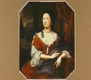 Portret van een vrouw gezeten voor een parklandschap