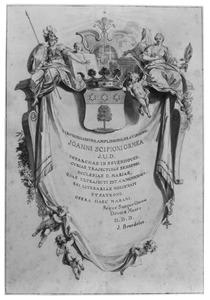 Cartouche met allegorische figuren, wapenschild en draperie