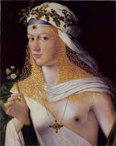 Geïdealiseerd portret van een courtisane als Flora