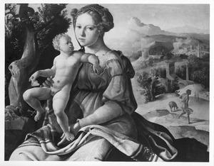 Maria met kind tijdens de rust op de vlucht naar Egypte