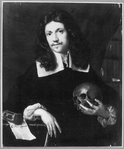 Portret van een man met een schedel in de hand
