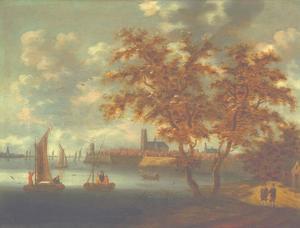 Gezicht op de Oude Maas met Dordrecht in het verschiet