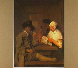 Interieur met pijprokende man, lezende vrouw en man met viool
