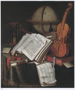 Vanitasstilleven met boeken, muziekinstrumenten, een globe, een horloge en een zandloper