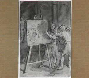Figuren rond een schilderij op een schildersezel