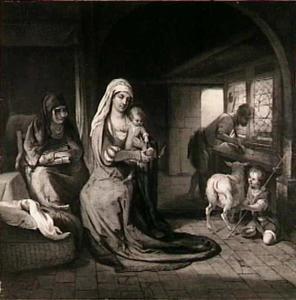 De H. Familie met de H. Anna en de jonge Johannes de Doper in de timmermanswerkplaats van Jozef