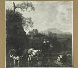 Zuidelijk landschap met vee bij een drenkplaats