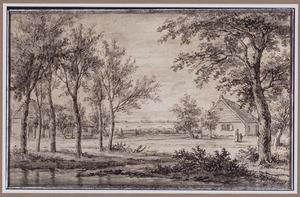Landschap met beek en twee boerderijen