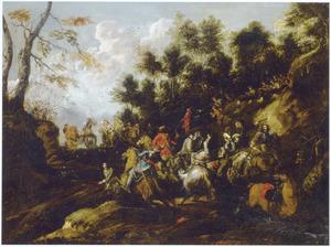 Heuvellandschap met een groep soldaten te paard beschoten vanuit een hinderlaag