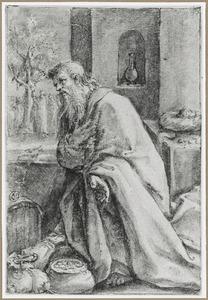 Boetende Zachaeus, op de achtergrond de roeping van Zachaeus