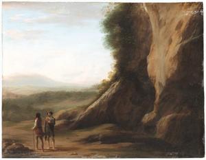 Landschap met twee pratende mannen