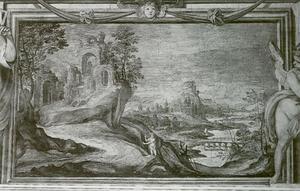 Rivierlandschap met een heremiet en ruïnes